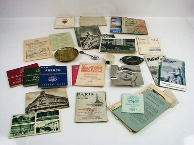 Huge Lot of WWII Memorabilias Items Maps Ash Trays Spoons Postcards Tour Guides