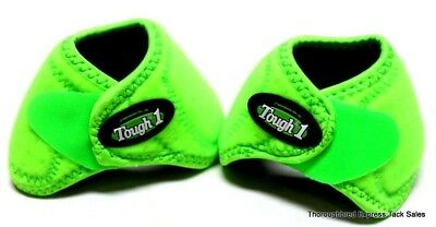 Tough-1 Neon Green No-Turn Neoprene Bell Boots Small  Horse Tack Equine 64-15100