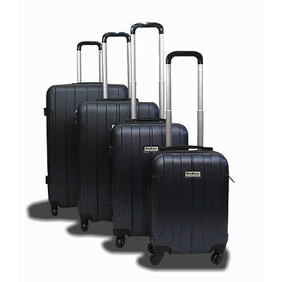 New Generic 4PCS Luggage Travel Set Bag ABS Trolley Suitcase w/ Lock Black