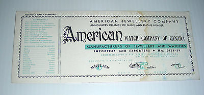 vintage AMERICAN WATCH COMPANY ad blotter Maple Leaf Cartier Packard