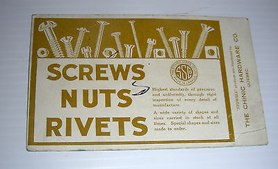 vintage STOWELL SCREWS NUTS RIVETS ad blotter Canada chinic hardware Quebec