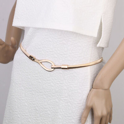 Women Lady Gold Metal Chain Belt Elastic Waist Strap Stretch Waistband Decor