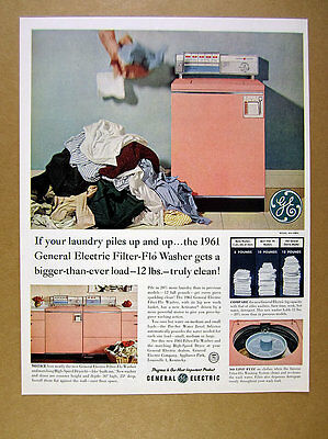 1961 GE General Electric pink built-in Washer Dryer pile of laundry print Ad
