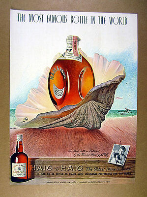 1946 Haig & Haig Scotch bottle seashell Kapra illustration art vintage print Ad
