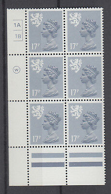 SCOTLAND MACHIN WADDINGTON 17p GREY-BLUE CYL 1A1B x 6 NO DOT MNH