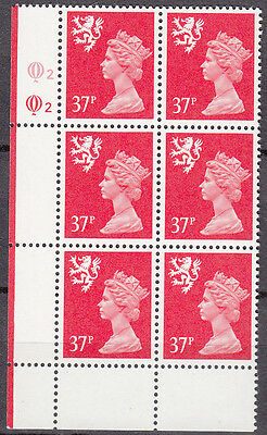 SCOTLAND MACHIN QUESTA 37p ROSE RED CYL Q2Q2 x 6 MNH