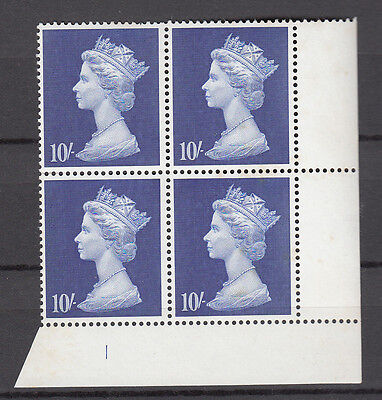 DLR Large Machin 10/- Deep Ultramarine  Cyl. 1 x4 MNH