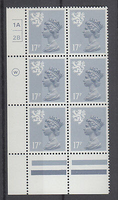 SCOTLAND MACHIN WADDINGTON 17p GREY-BLUE CYL 1A2Bx 6 NO DOT MNH
