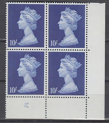 DLR Large Machin 10/- Deep Ultramarine  Cyl. 1C x4 MNH