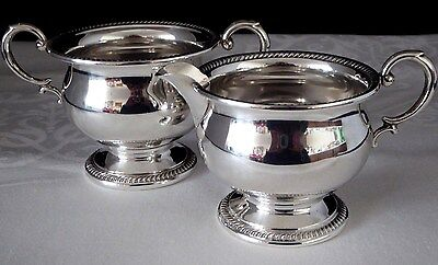 Antique Sterling Silver 2-Handle Sugar Bowl + 1-Handle Creamer. Hallmarked. 1890