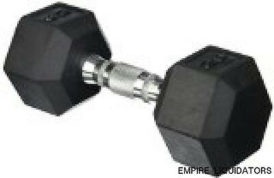 45LB Cap Barbell Rubber Coated Hex Dumbbell with Contoured Chrome Handle