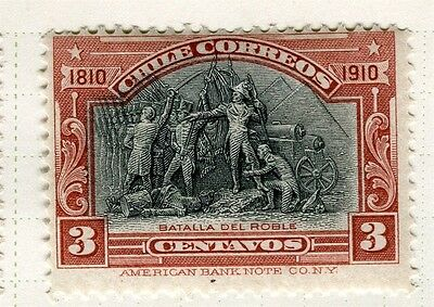 CHILE;  1910 early Centenary issue Mint hinged 3c. value