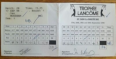 Ian Woosnan Tournament signed scorecard marked and signed by Seve Ballesteros