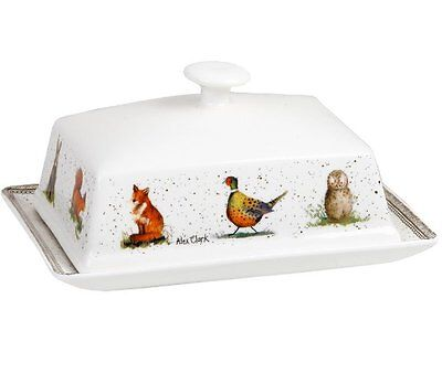 Alex Clark WILDLIFE BUTTER DISH with LID Fine China FOX Owl RABBIT