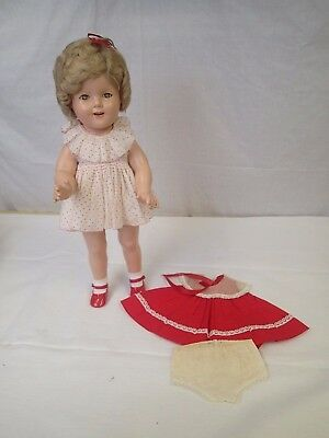 "1930s Marked Ideal Composition 18"" Shirley Temple Doll Extra Outfit Tagged"
