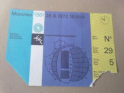Ticket Olympic Games MÜNCHEN 1972 - SWIMMING 28.08.1972