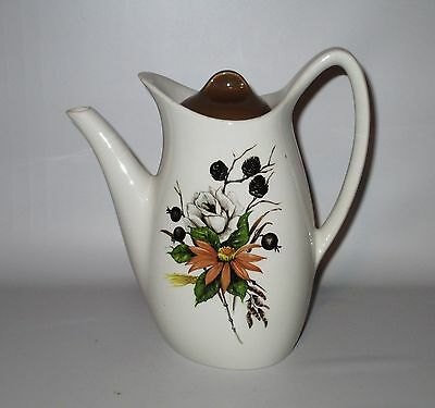 Midwinter Countryside Coffee Pot Fashion Shape White Rose Berries 1950s England