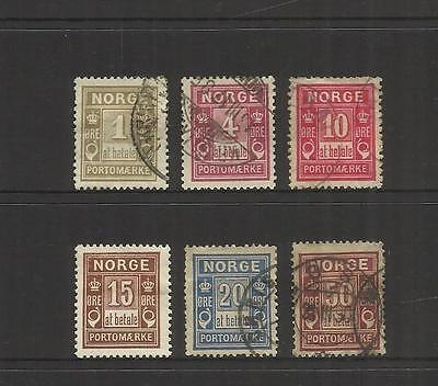 Norway Norge ~ 1889-1914 Postage Due Stamps ( Set) Most Used
