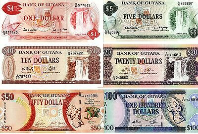 GUYANA 1 / 5 / 10 / 20 / 50 and 100 Dollars   - A Set of 6 Crisp UNC Banknotes