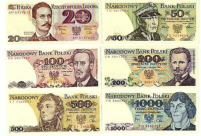 POLAND 20/ 50/ 100/ 200/ 500 and 1000 Zlotych - A Set of 6 Crisp UNC Banknotes
