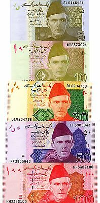 PAKISTAN  5 / 10 / 20 / 50 and 100 Rupees  - Set of 5 Crisp UNC Banknotes