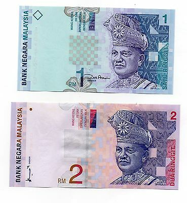 MALAYSIA  1 and 2 Ringgit -  A  Set of 2 Crisp UNC  Banknotes