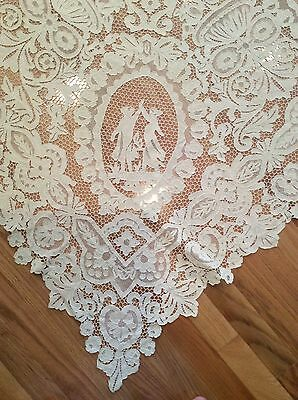 Antique Lg Italian Venetian Needlelace Figural Tablecloth*Dancing Girls*Cherubs