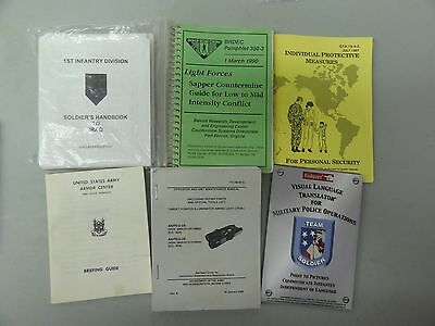 Lot Set Of Misc Military Items Manuals Police Soldier Handbook Personal Security