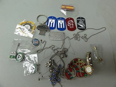 Lot Set Of Misc Military Items Jewelry Dog Tags Watch Lapel Pins Etc