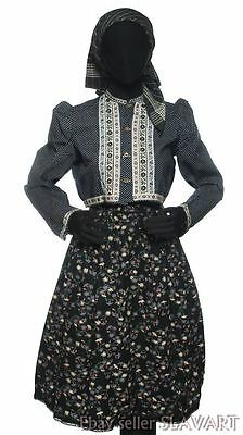 VINTAGE Czech folk costume Chodsko ethnic Bohemian dress black floral apron KROJ