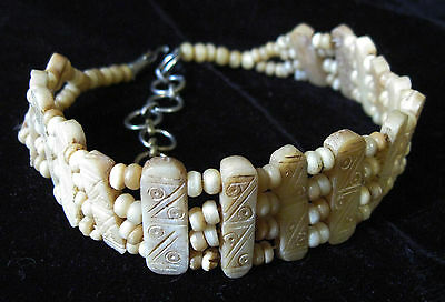 Vintage Native American Indian Carved Bone Choker Necklace 16' w BOVINE BEADS