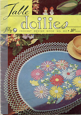 Vintage Lily Design Book #60 Table Doilies Crochet Pattern Book