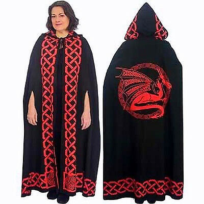 Wiccan Ritual Black And Red Dragon Cape, Pagan Ceremonial Robe,  Cloak, Wicca