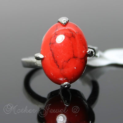 Lovely Large Red Turquoise Women Girls Ladies Silver Sp Cocktail Dress Ring