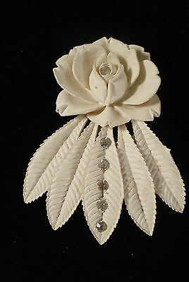 Vintage  Dress Fur Clip White Molded Celluloid with Rhinestones