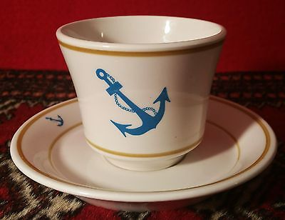BLUE ANCHOR vtg shenango china us navy hocking soup bowl saucer plate tea cup