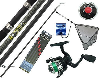 Complete Starter Beginner Fishing Kit Set & 10' Rod Reel Floats Hooks Shot & Net