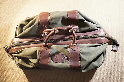 """Orvis Battenkill Large 26"""" Leather Canvas Travel Duffle Gear Bag Green"""