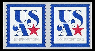 US Patriotic blue USA red star Nonprofit coil pair MNH 2017