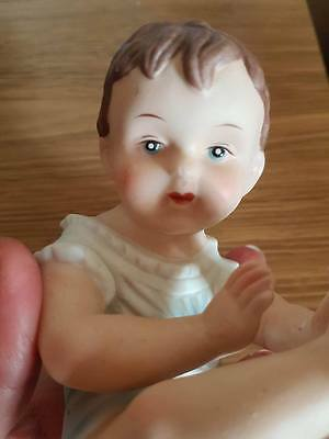 Lovely Vintage Piano Baby Bisque Porcelain Figure Ornament