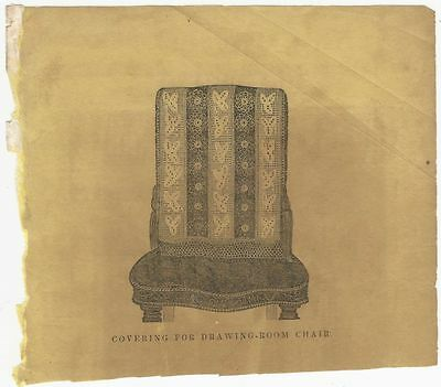 "Nice Victorian Illustration -A  Crocheted ""Covering for a Drawing Room Chair"""