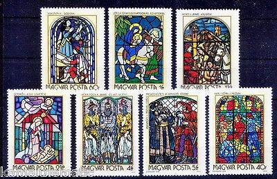 Hungary 1972 MNH 7v, Stain Glass Windows Paintings By Hungarian Artisans  - P13