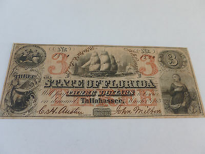 1863 State of Florida $3.00 Obsolete Currency Note Dated 3-1-1863 Tallahassee
