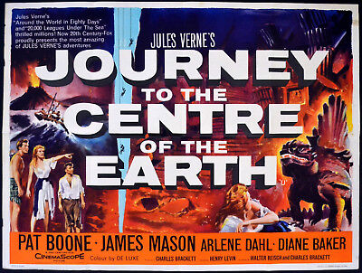 JOURNEY TO THE CENTRE OF THE EARTH 1959 James Mason, Pat Boone UK QUAD POSTER
