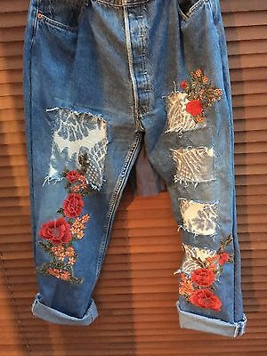 All Sizes Ritanotiara Customized Vintage Levis Jeans Embroidery Floral Roses