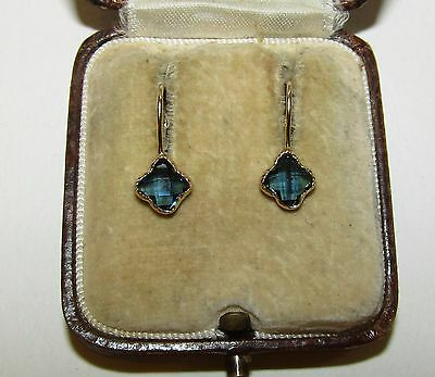 Delightful, Antique, 9 Ct Gold Classic Earrings With Natural Sapphire Gems