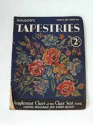Vintage Weldons Tapestry Magazine  With Patterns & Large Chart Cover Floral