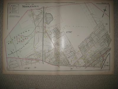 Antique 1903 Middletown Orange County New York Map Homeopathic Insane Asylum Nr
