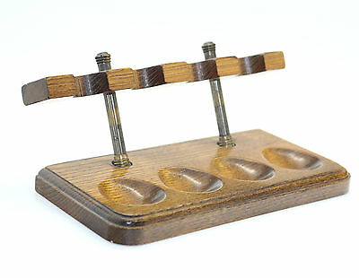Vintage WOODEN Smoking PIPE Rack Stand Rest Holder for 4 pipes wood and brass