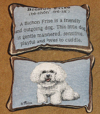 Bichon Frise Framed Tapestry Word Pillow ~ Linda Picken